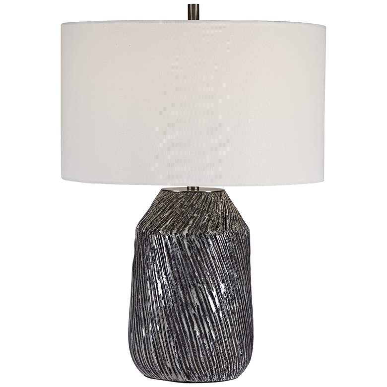 Uttermost Malaya Black and White Ceramic Table Lamp