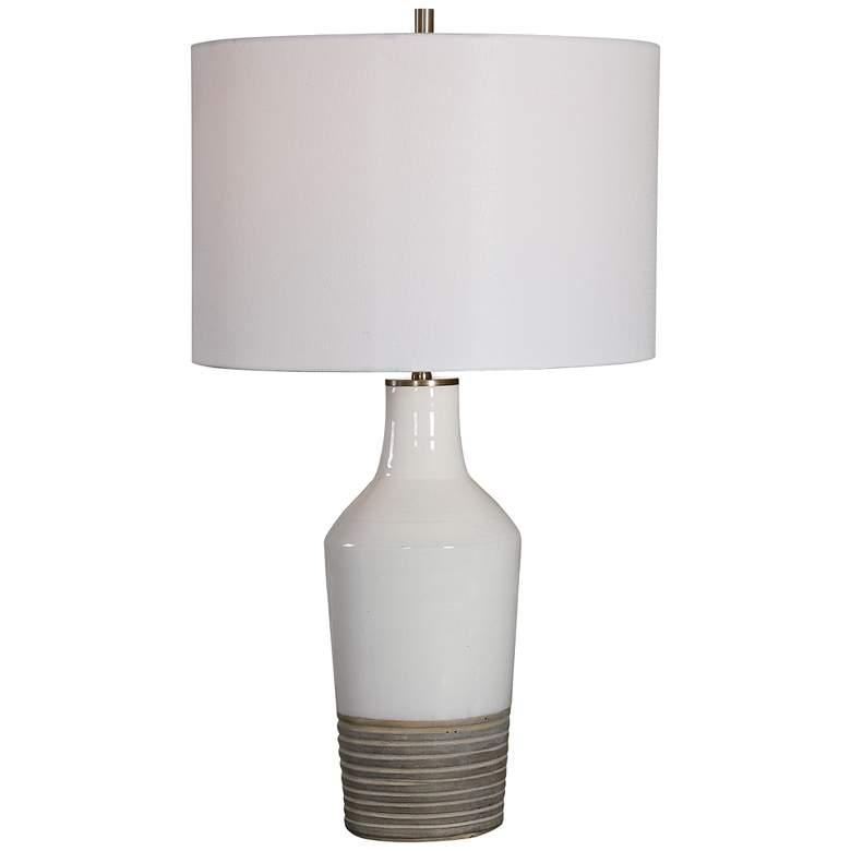 Uttermost Dakota White Crackle Glaze Ceramic Table Lamp