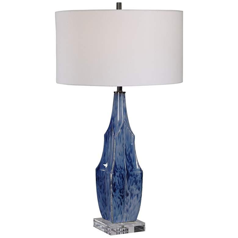 Uttermost Everard Indigo Blue Glaze Ceramic Table Lamp