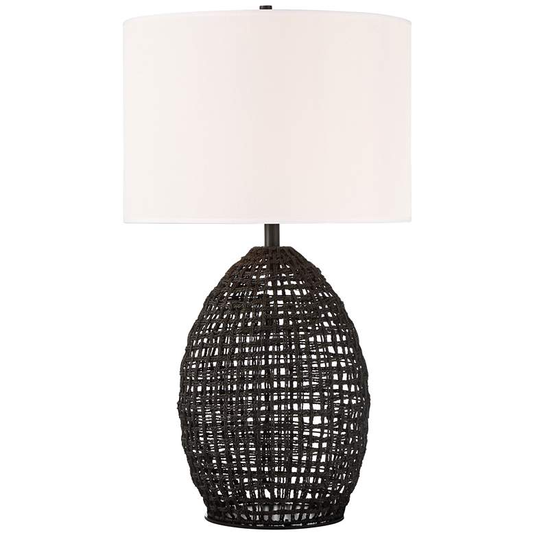 Lite Source Ivette Black Woven Rattan Table Lamp