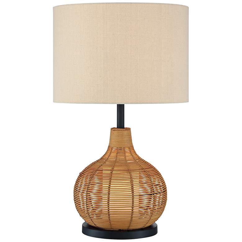 Lite Source Paige Woven Rattan Table Lamp with Night Light
