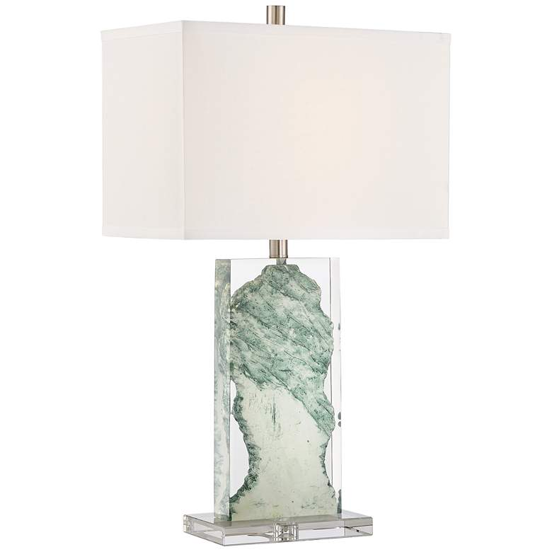 Lite Source Cleon Marbleized Jade Lucite Table Lamp