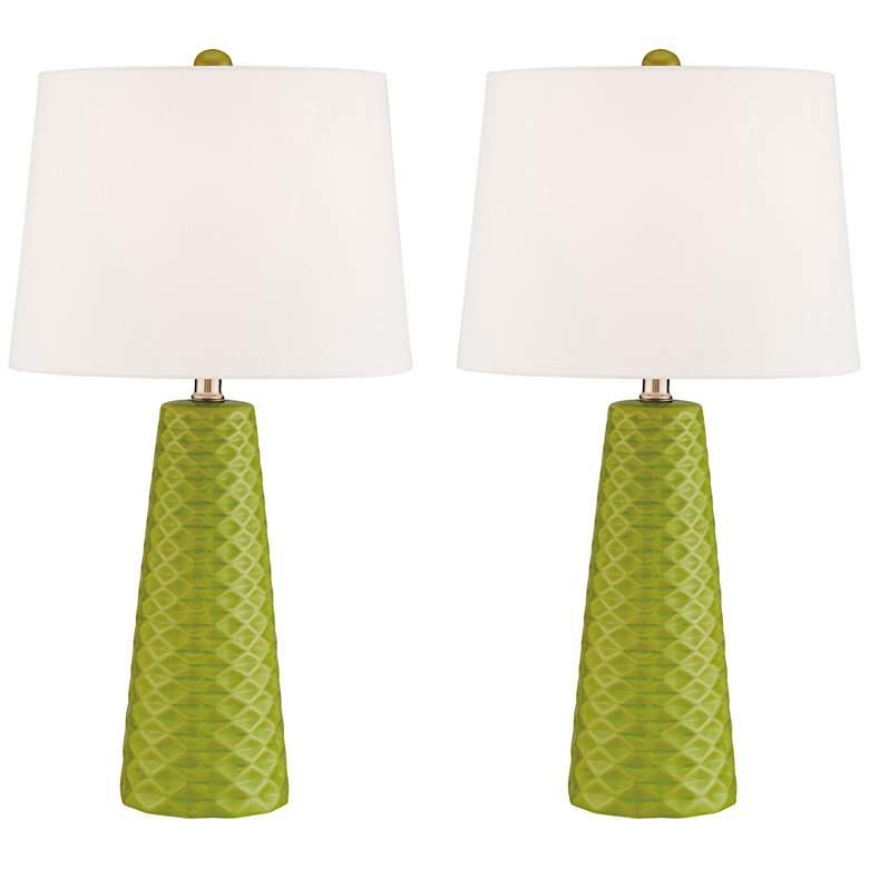 Lite Source Muriel Green Ceramic Table Lamps Set of 2