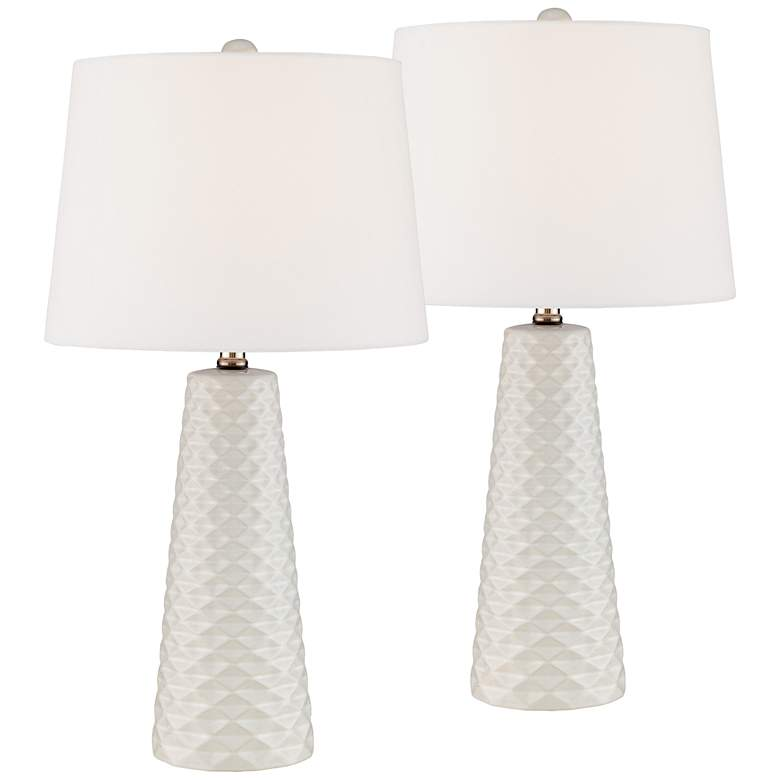 Muriel White Ceramic Mid-Century Modern Table Lamps Set of 2