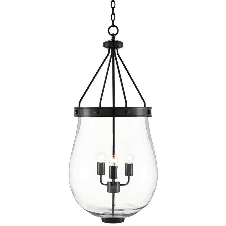 "Darius 18 1/2""W Bronze Glass 3-Light Lantern Pendant Light"