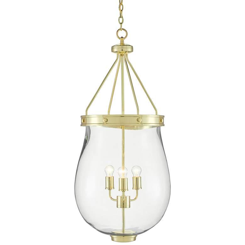 "Darius 18 1/2""W Polished Brass Glass 3-Light Lantern Pendant"