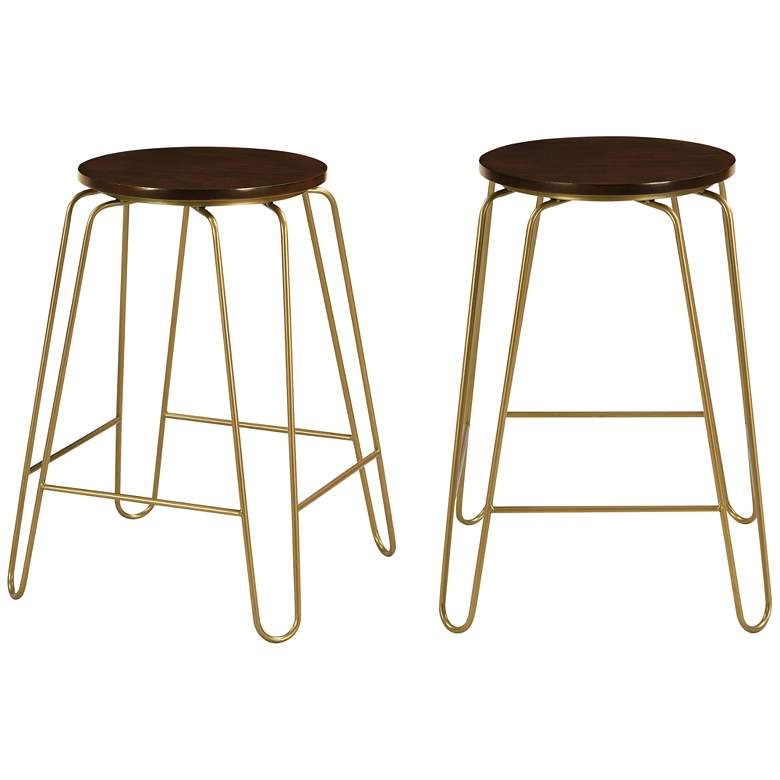 """Ethan 24"""" Elm Wood and Gold Counter Stools Set of 2"""