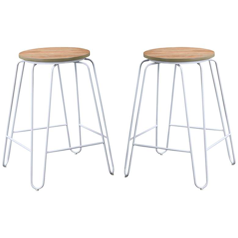 """Ethan 24"""" Natural Wood and White Counter Stools Set of 2"""