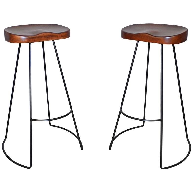 "Saga 30"" Chestnut Wood and Black Bar Stools Set of 2"