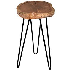 "Suri 22"" Wide Natural Wood and Black Accent Table"