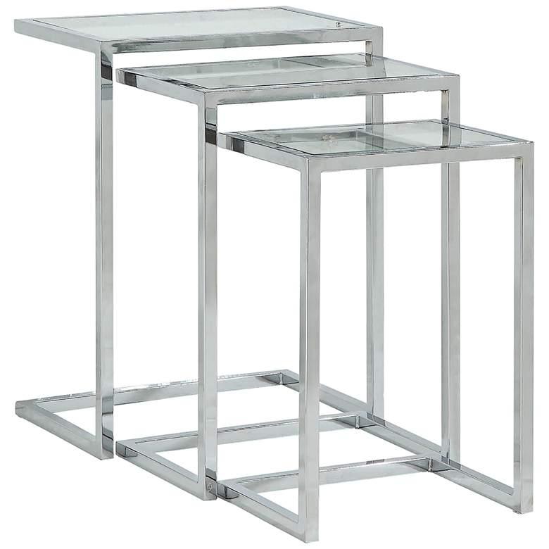 Radison Glass and Chrome Metal Nesting Tables Set of 3