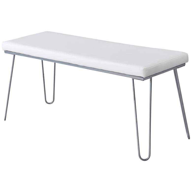 """Vanna 42"""" Wide White Faux Leather and Silver Backless Bench"""
