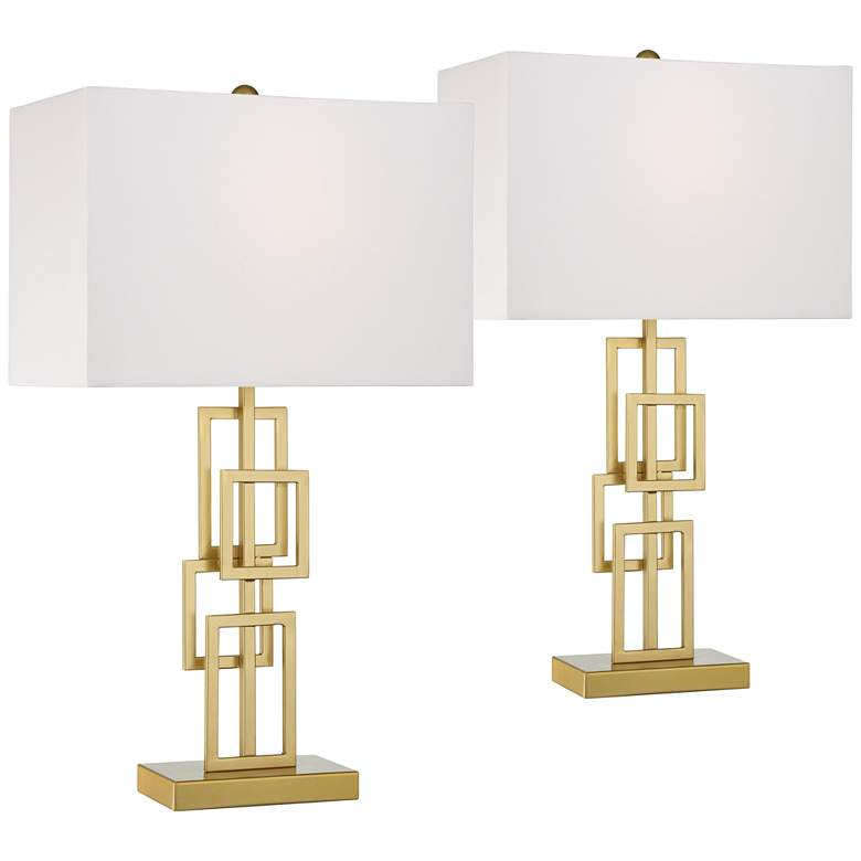 Golden Grid Open Base Table Lamps Set of 2