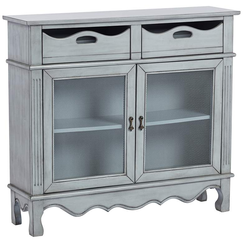 """Audley 39 1/4"""" Wide Gray-Blue Finish Wood Chest by Elm Lane"""