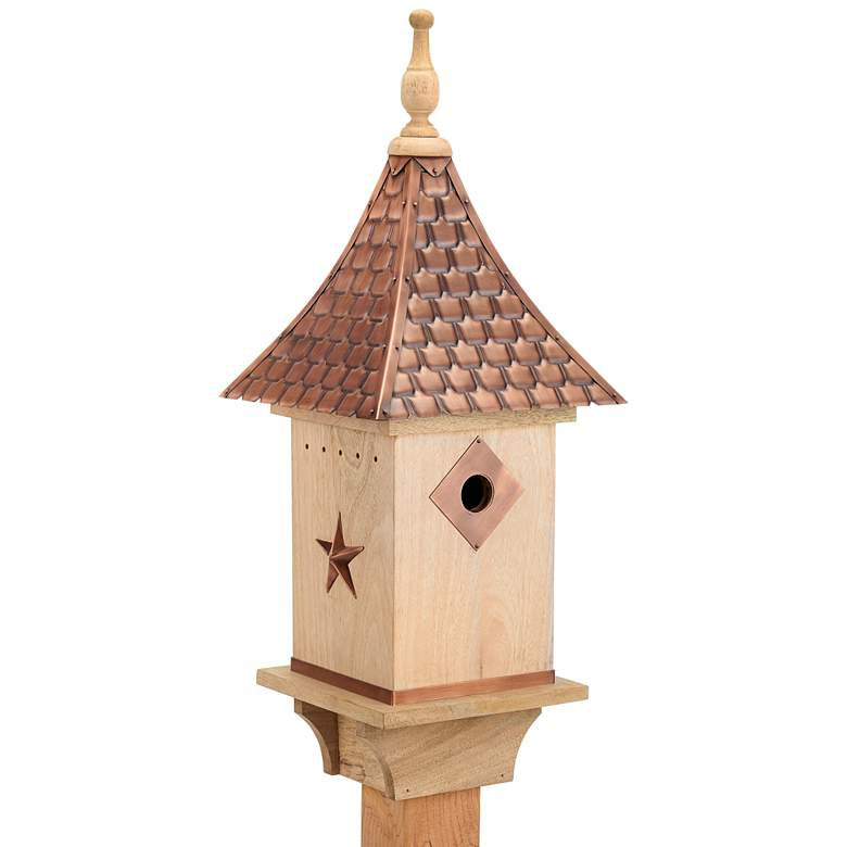Villa Pure Copper and Natural Mango Wood Bird House