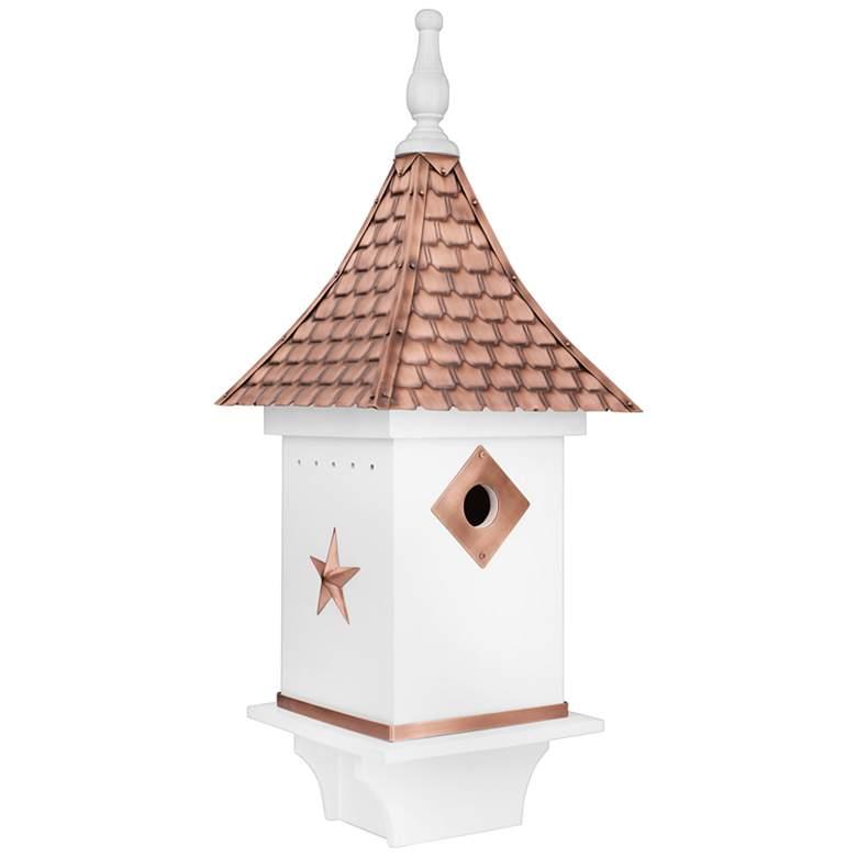 Villa Pure Copper and White Mango Wood Bird House