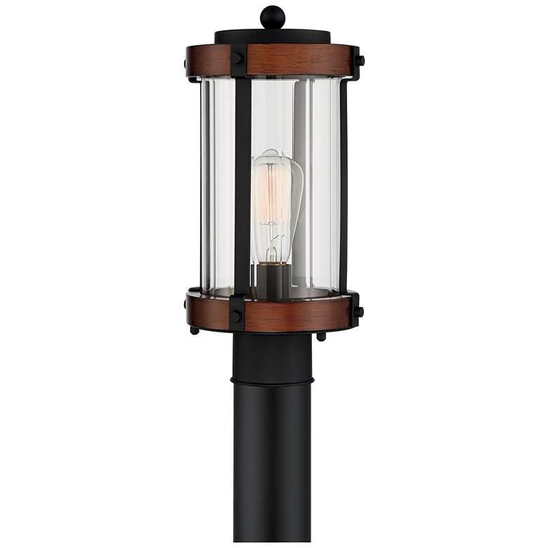 "Stan 13 3/4"" High Black and Dark Wood Outdoor Post Light"