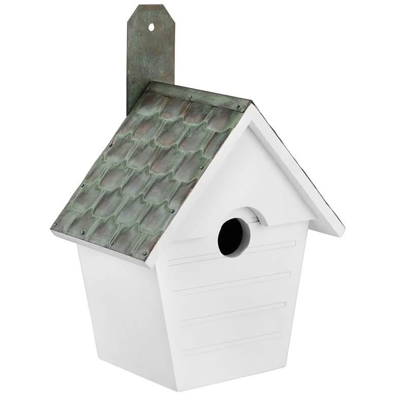 Classic Cottage Verdigris Pure Copper Roof Wood Bird House