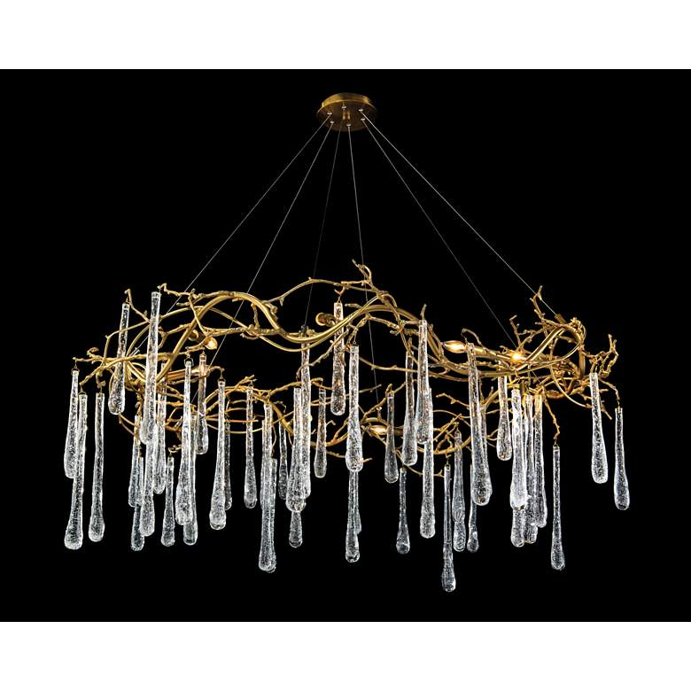 "Brass and Glass Teardrop 51"" Wide 8-Light Chandelier"