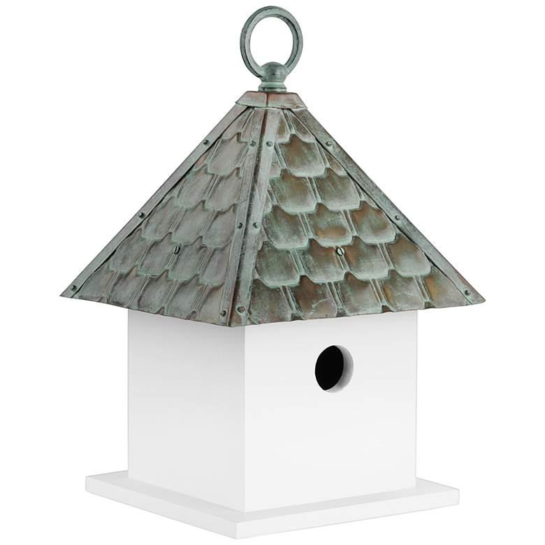 Bungalow Verdigris Pure Copper Roof Wood Bird House