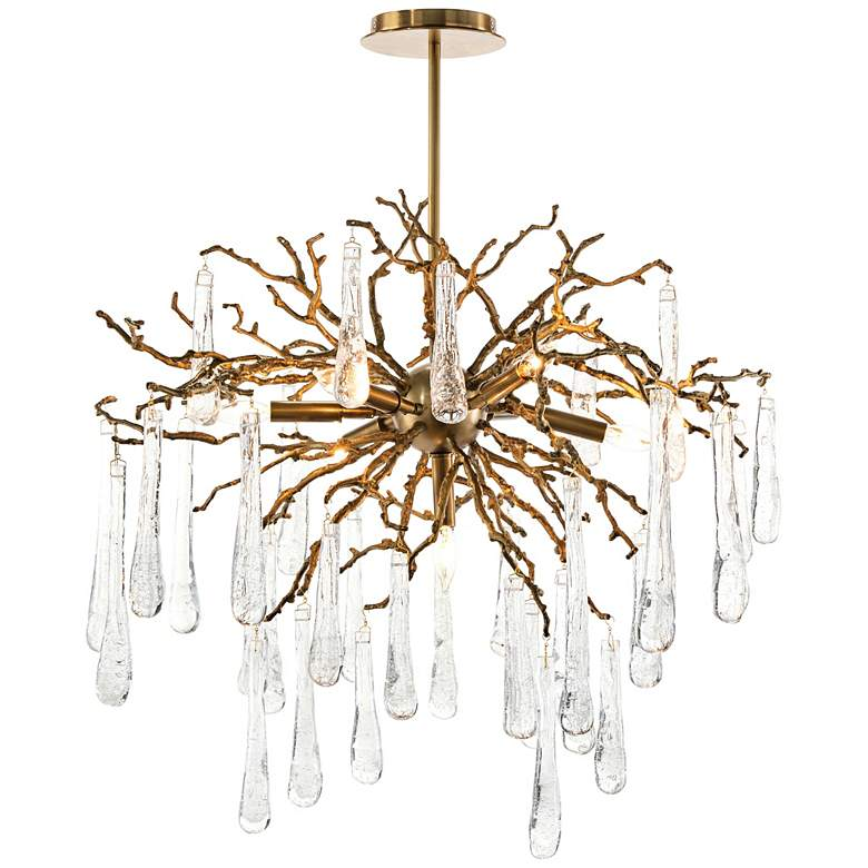 "Brass and Glass Teardrop 32"" Wide 7-Light Chandelier"