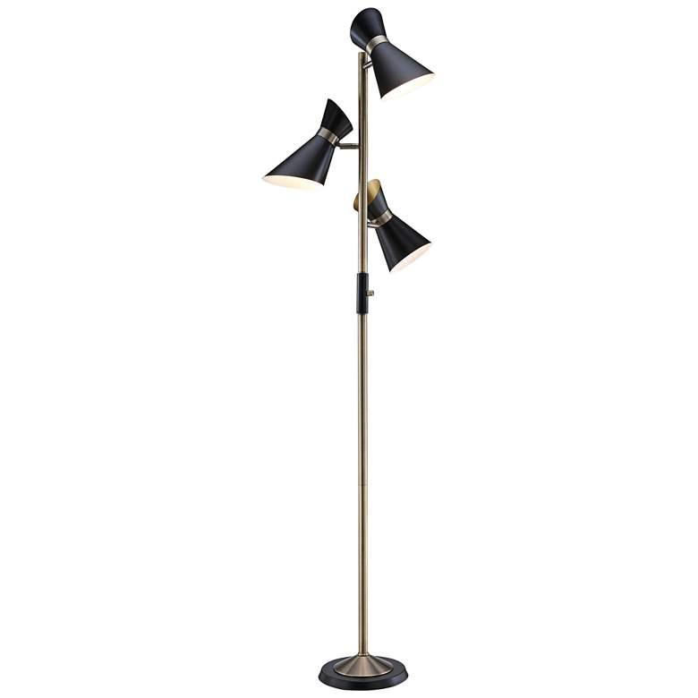 Jared Antique Brass and Black 3-Light Tree Floor Lamp