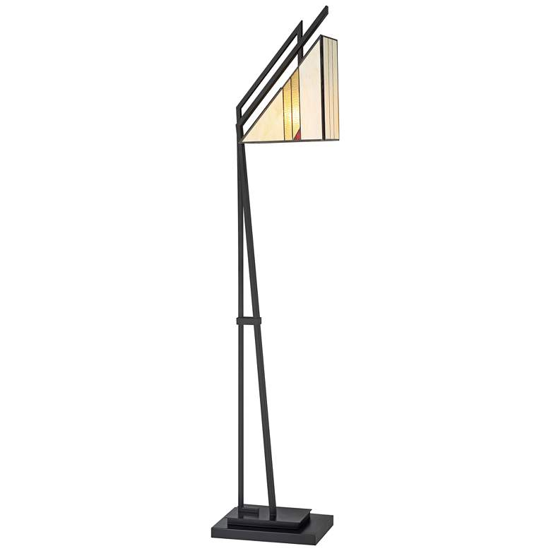 Lite Source Verda Antique Black Tiffany-Style Glass Floor Lamp