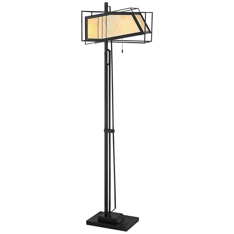 Lite Source Rodney Antique Black Tiffany-Style Glass Floor Lamp
