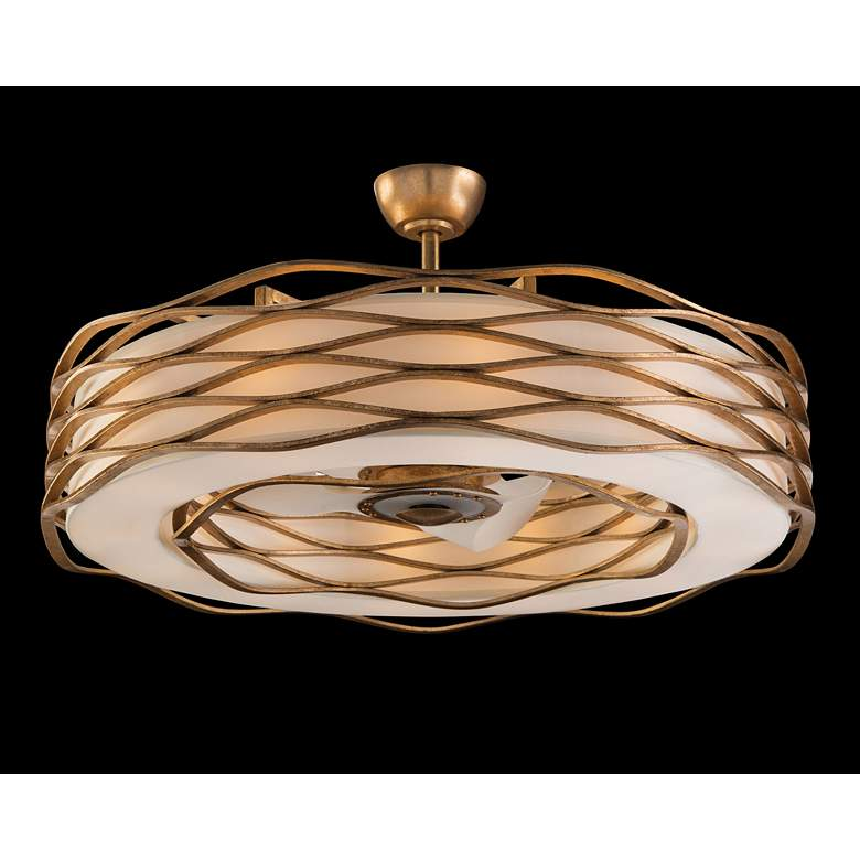 "Ribbons of Gold 42 1/2"" Wide LED Pendant Light with Fan"