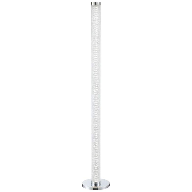Quilla Chrome and Diamond Glass LED Touch Floor Lamp