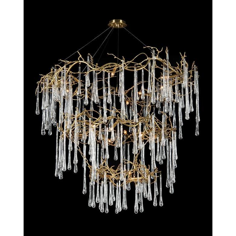 "John Richard Branched Crystal 56""W Brass 20-Light Chandelier"