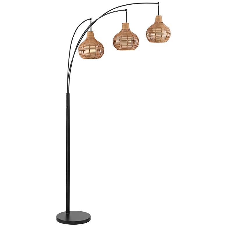 Lite Source Paige Black and Rattan 3-Light Arc Floor Lamp