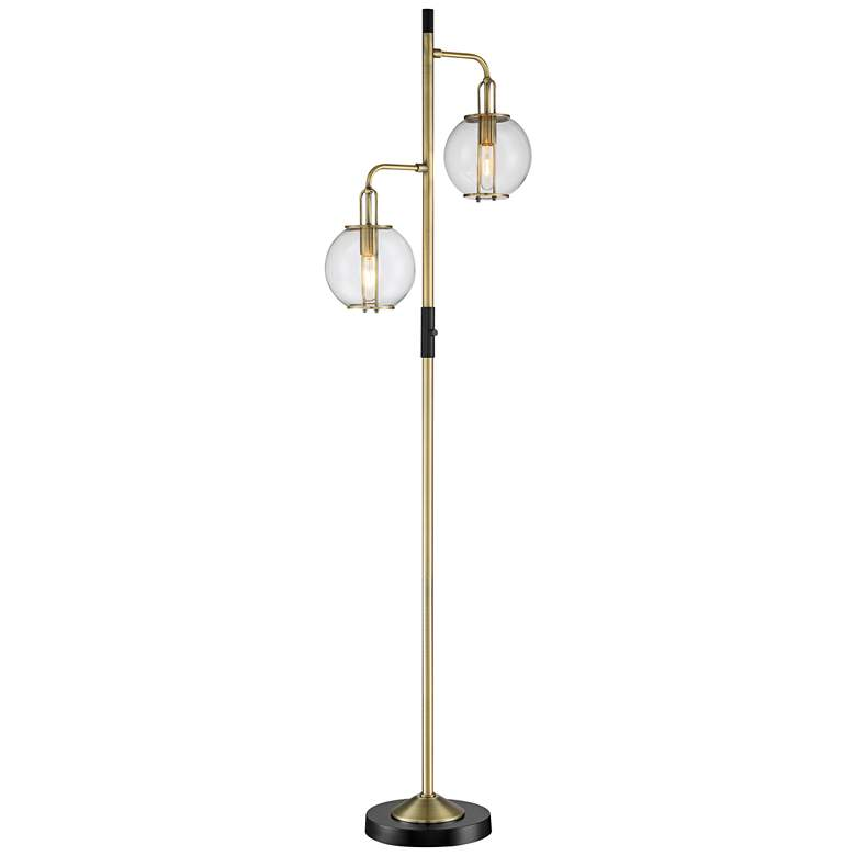 Lite Source Kaira Black and Antique Brass 2-Light Floor Lamp