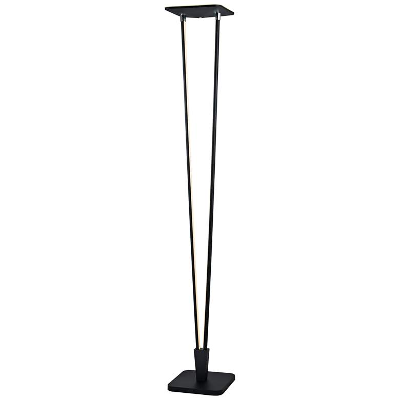 Russo Black LED Torchiere Floor Lamp with Night Light