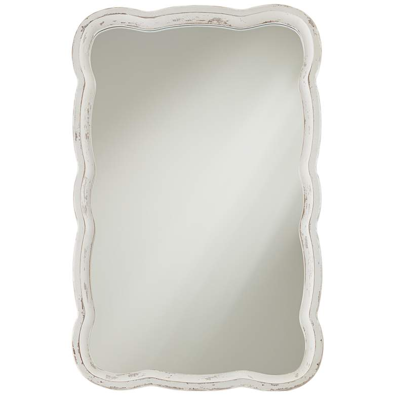 "Nellie Distressed 23 1/2"" x 38"" Scallop Edge Wall Mirror"