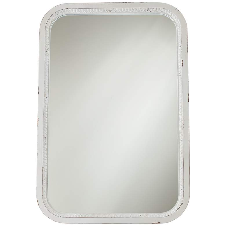 """Noreen Distressed White 24 3/4"""" x 36 1/2"""" Wall Mirror"""