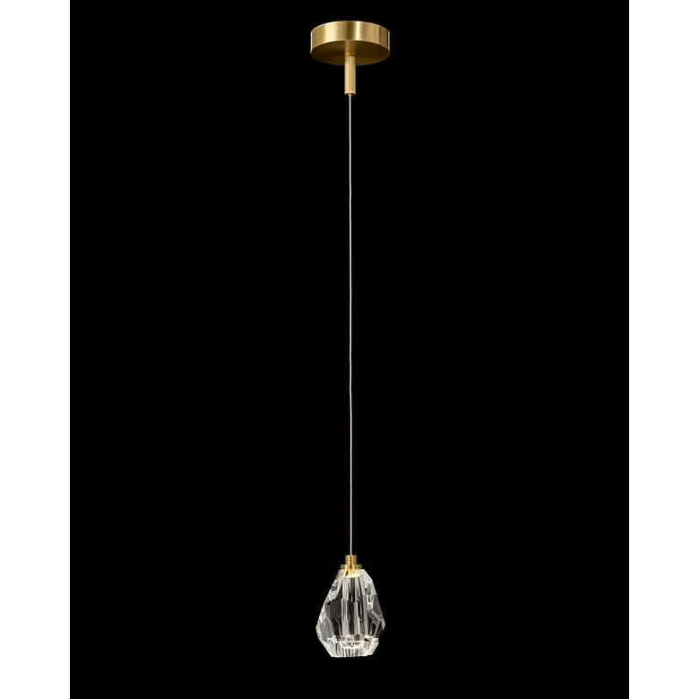 """Faceted Chunk Crystal 5 1/2""""W Antique Brass LED Mini Pendant"""