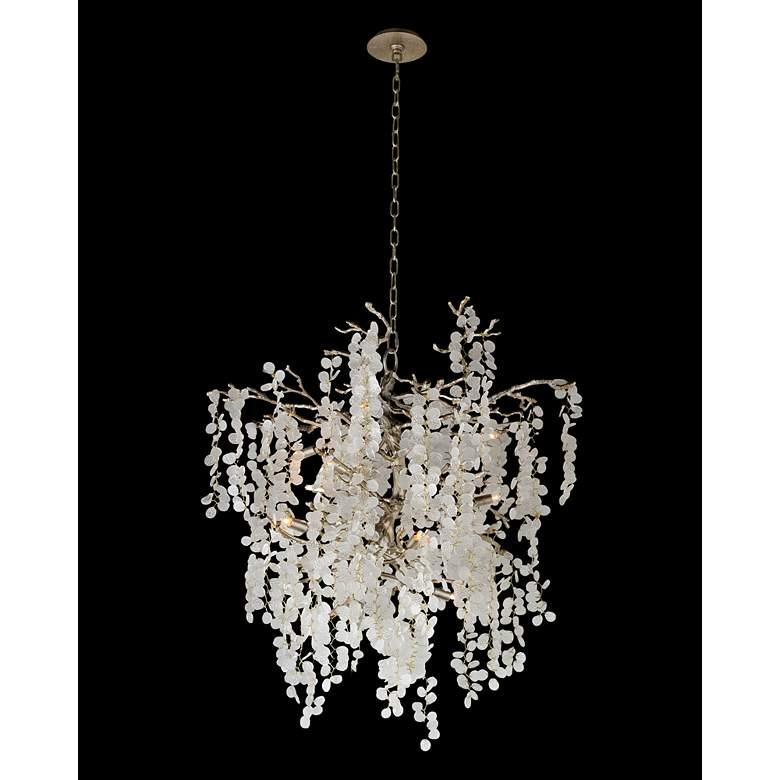 """Shiro Noda 35"""" Wide Antique Brass Glass 11-Light Chandelier"""