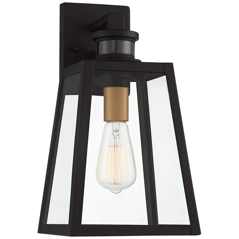 "Arrington 14 3/4"" Black - Gold Motion Sensor Outdoor Light"