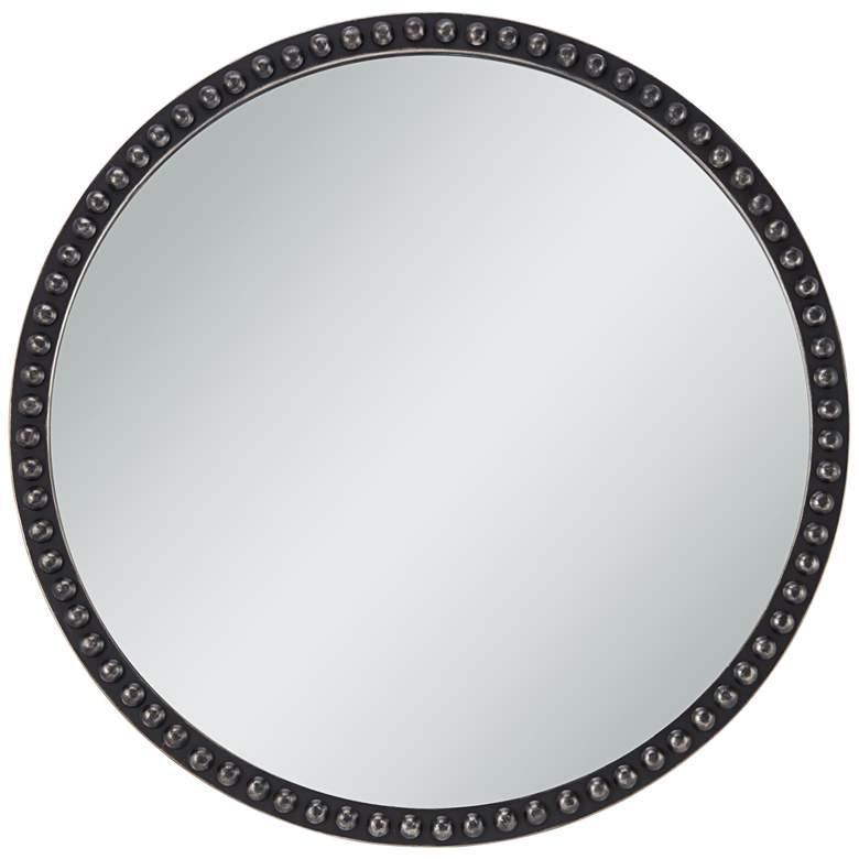 "Corwin Black 34"" Round Metal Framed Wall Mirror"