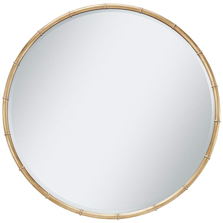 "Morgan Antique Gold Leaf 34"" Round Ring Framed Wall Mirror"