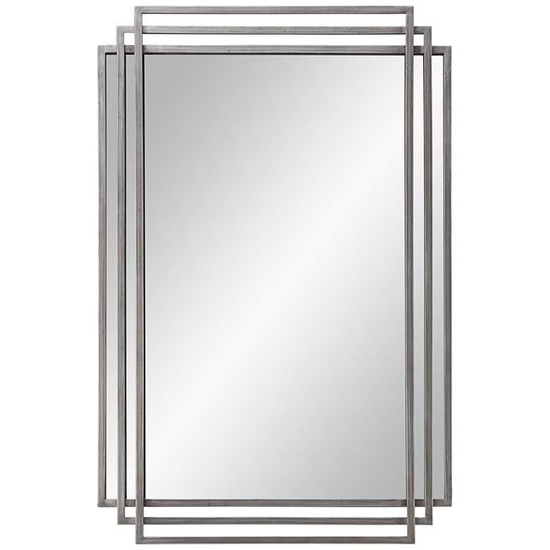 """Trio Silver 23 1/2"""" x 36 1/2"""" 3-Layer Framed Wall Mirror"""
