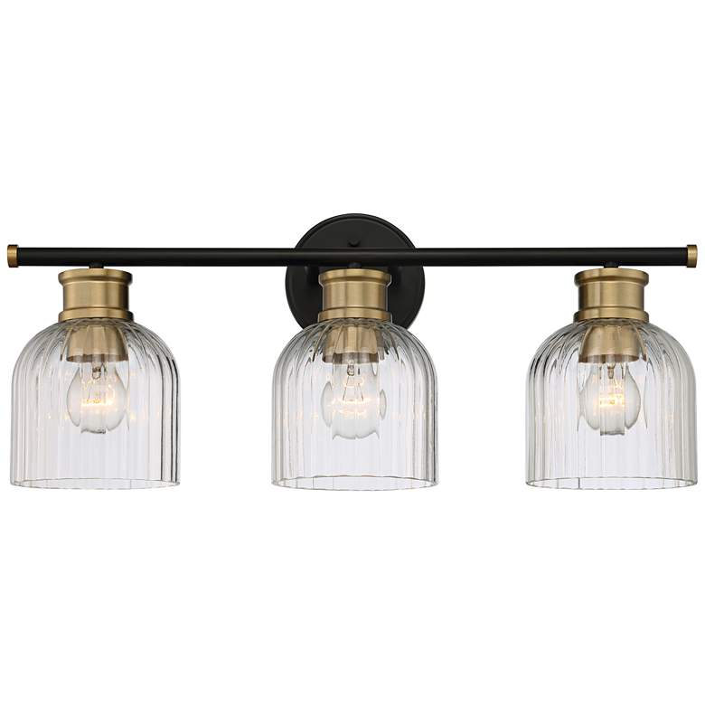 "Stiffel Lana 23"" Wide Black and Warm Brass 3-Light Bath Light"
