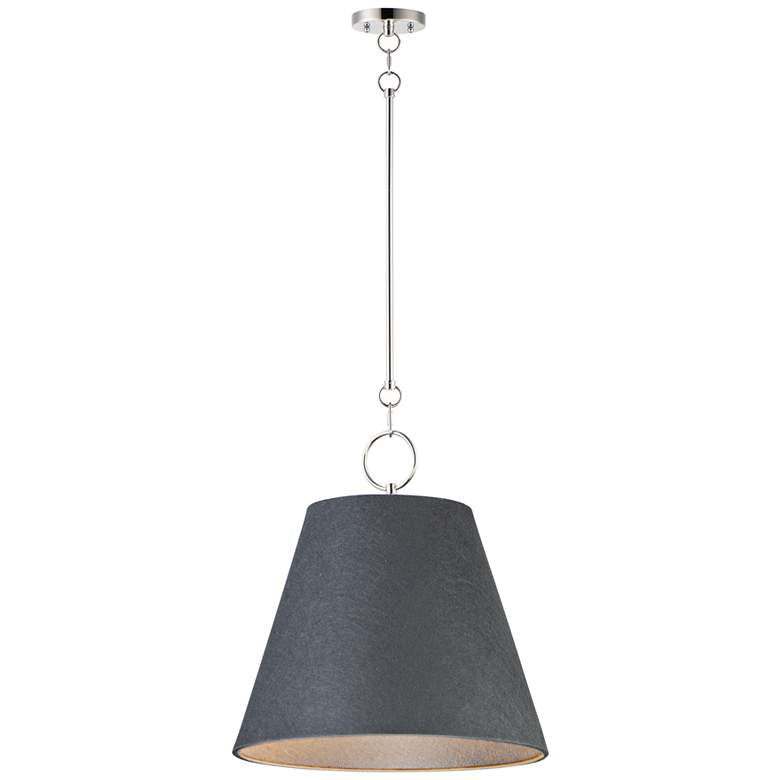 """Maxim Acoustic 20""""W Polished Nickel and Black Pendant Light"""