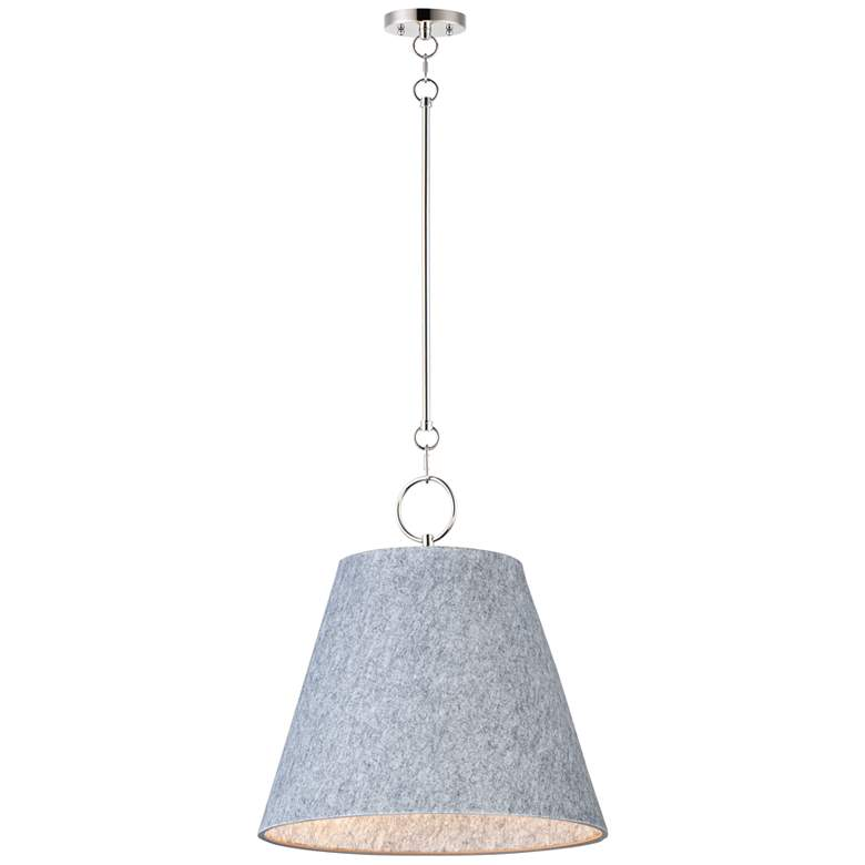 """Maxim Acoustic 20"""" Wide Satin Nickel and Gray Pendant Light"""