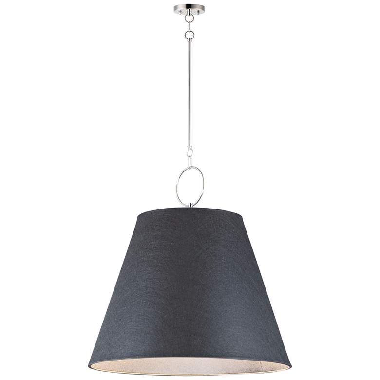 "Maxim Acoustic 30""W Polished Nickel and Black Pendant Light"