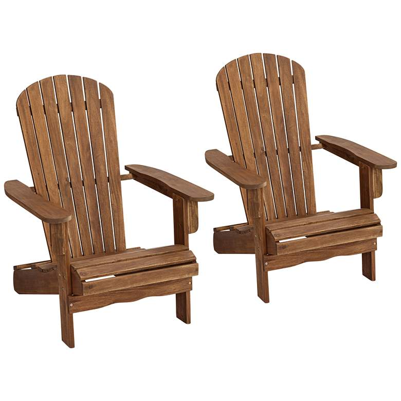 Cape Cod Natural Wood Adirondack Chairs Set of 2