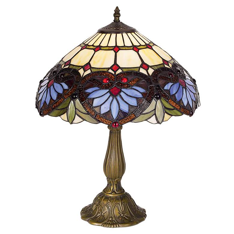 """Tiffany-Style Heart Pattern 22"""" High Table Lamp"""