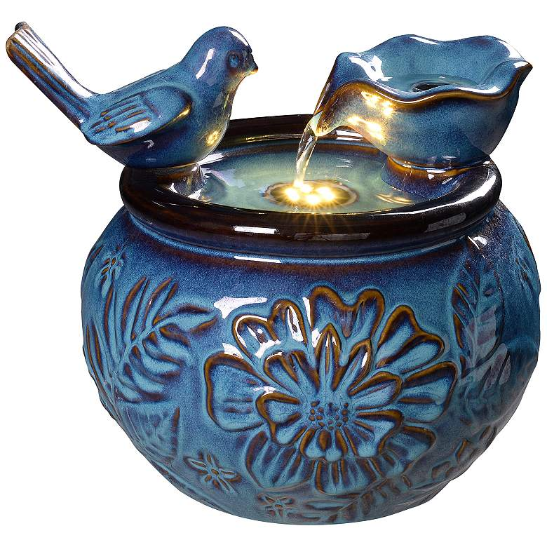 """Kenroy Home Flora 10 1/4""""H Blue LED Tabletop Water Fountain"""