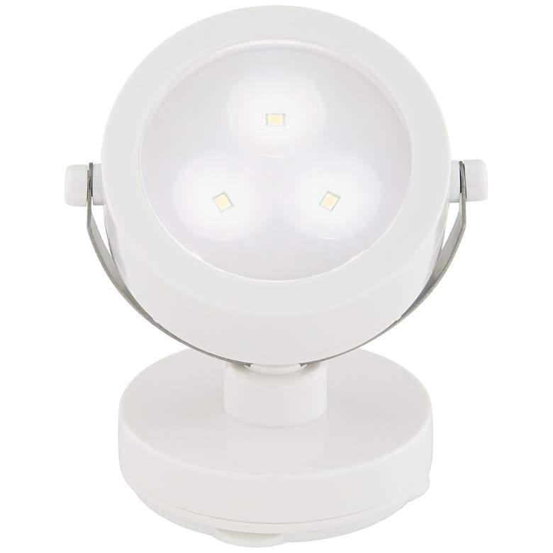 White Three Battery Powered LED Adjustable Spotlight